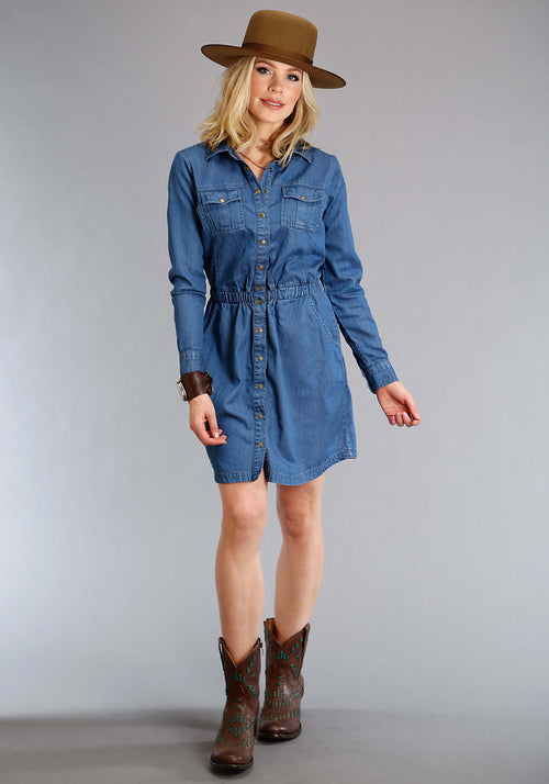 STETSON WOMENS BLUE 1406 TENCEL WESTERN STYLE SHIRT DRESS STETSON LADIES COLLECTION- FALL III LONG SLEEVE DRESS