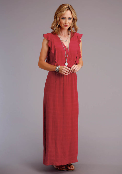 STETSON WOMENS RED 00242 RAYON TEXTURED SLVLS LONG DRESS STETSON WOMEN'S COLLECTION - SUMMER I SLEEVELESS DRESS