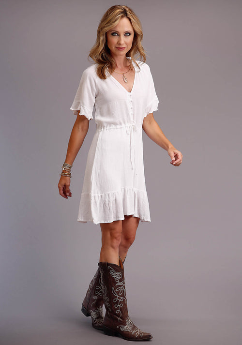 STETSON WOMENS WHITE 00242 WH TEXTURED RAYON DRESS STETSON WOMEN'S COLLECTION - SUMMER II SHORT SLEEVE DRESS