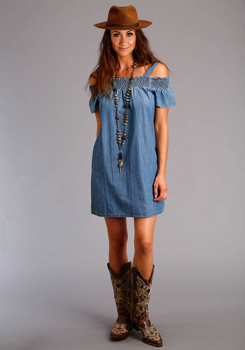 STETSON WOMENS BLUE DENIM OFF THE SHOULDER DRESS STETSON LADIES COLLECTION- SUMMER II SLEEVELESS DRESS