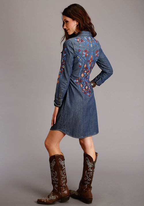 STETSON WOMENS BLUE 5.6 OZ DENIM DRESS W/LAVISH EMBROIDERY STETSON LADIES COLLECTION- FALL III SLEEVELESS DRESS