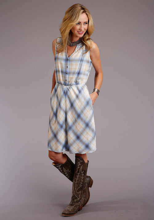 STETSON WOMENS BLUE 00116 CORNFLOWER PLAID RAYON SL DRESS STETSON LADIES COLLECTION- SPRING II SLEEVELESS DRESS