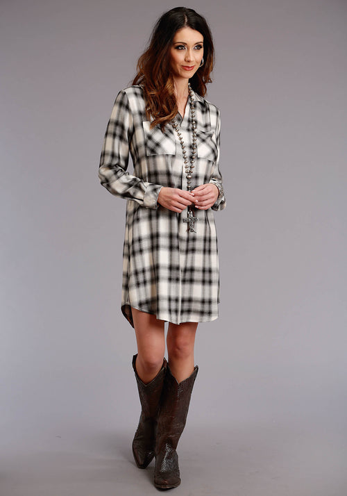 "STETSON WOMENS WHITE 0586 ""ASH"" PLAID HERRINGBONE TWILL STETSON LADIES COLLECTION- FALL III LONG SLEEVE DRESS"