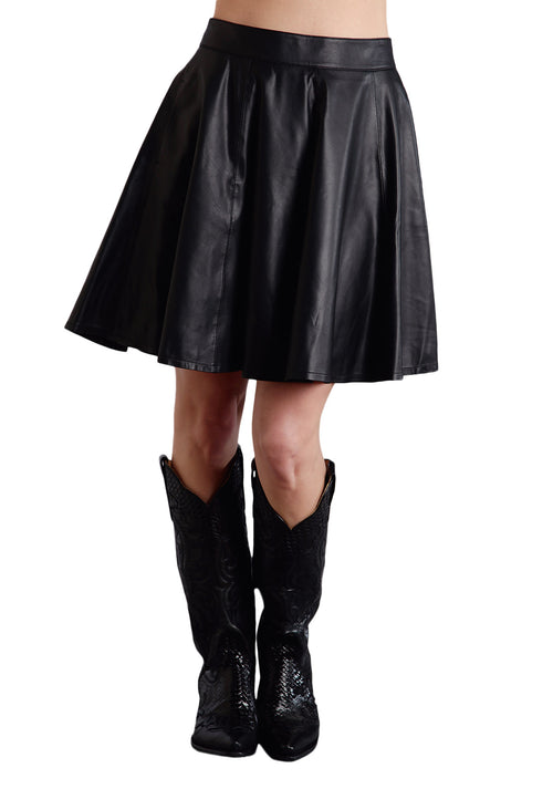 STETSON LADIES BLACK BLACK LAMB LEATHER CIRCLE SKIRT STETSON LADIES COLLECTION- SKIRT