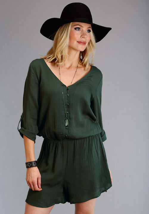 STETSON WOMENS GREEN 1444 SOLID RAYON TWILL ROMPER STETSON LADIES COLLECTION- FALL I SHORTS