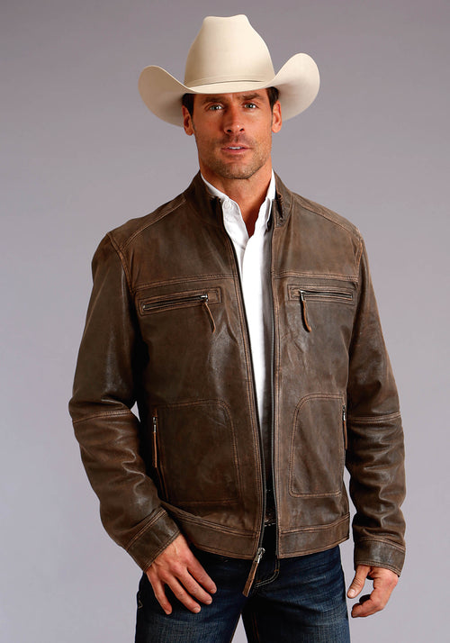 STETSON MENS BROWN DISTRESS BROWN LEATHER JACKETSHERP STETSON MEN'S COLLECTION- OUTERWEAR JACKET