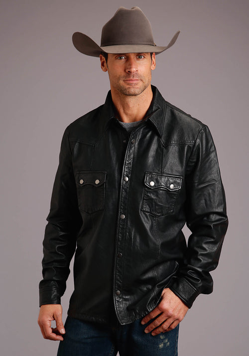 STETSON MENS BLACK SMOOTH LEATHER WESTERN SHIRT JACKET STETSON MEN'S COLLECTION- LEATHER JACKET