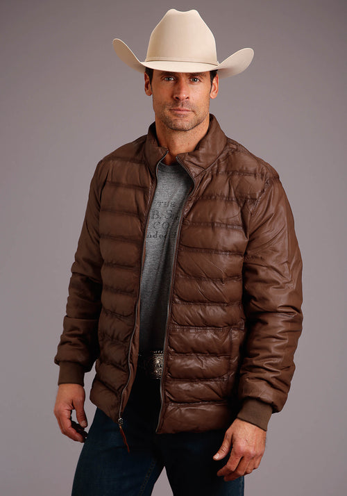 STETSON MENS BROWN SMOOTH LEATHER PUFFY BODY SMOOTH SLVS STETSON MEN'S COLLECTION- LEATHER JACKET
