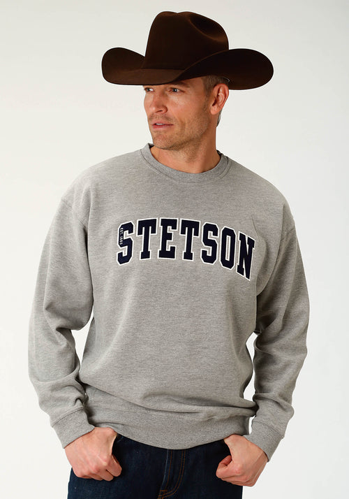 STETSON MENS GREY STETSON ATHLETIC SCRIPT APPLIQUE STETSON MEN'S SWEATSHIRT SWEATSHIRT