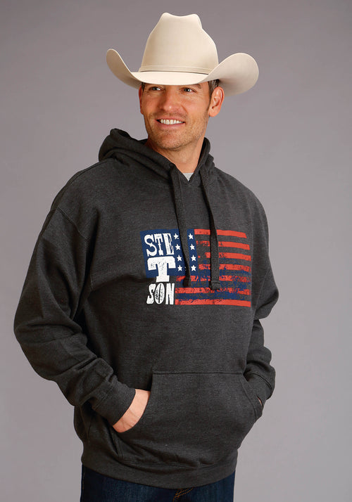 STETSON MENS GREY STETSON AMERICAN FLAG SCREEN PRINT STETSON MEN'S SWEATSHIRT SWEATSHIRT