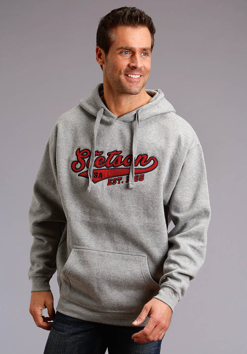 STETSON MENS GREY STETSON ATLETIC FELT APPLIQUE STETSON MEN'S SWEATSHIRT SWEATSHIRT