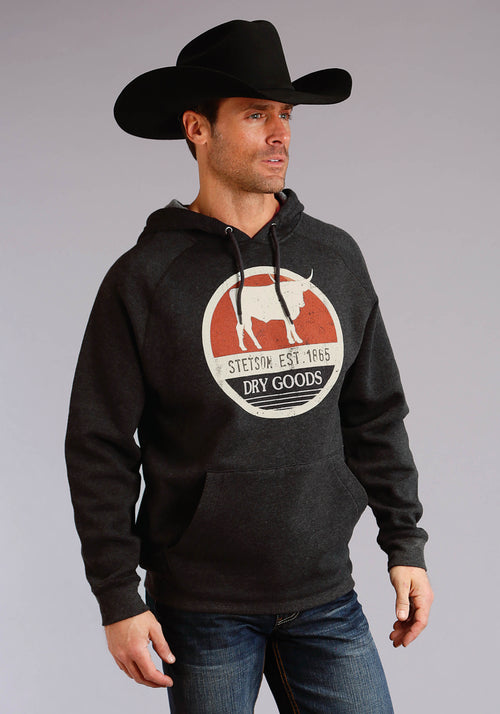 STETSON MENS BLACK STETSON DRY GOODS SCREEN PRINT STETSON MEN'S SWEATSHIRT SWEATSHIRT