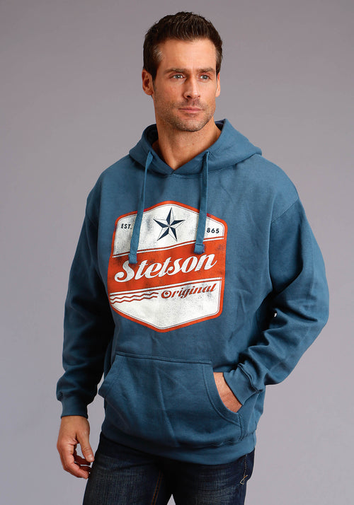 STETSON MENS BLUE STETSON ORIGINAL STAR SCREEN PRINT STETSON MEN'S SWEATSHIRT SWEATSHIRT