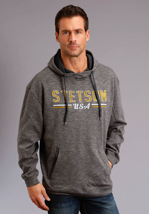 STETSON MENS BLACK STETSON USA SLUB FRENCH TERRY HOODIE STETSON MEN'S SWEATSHIRT SWEATSHIRT