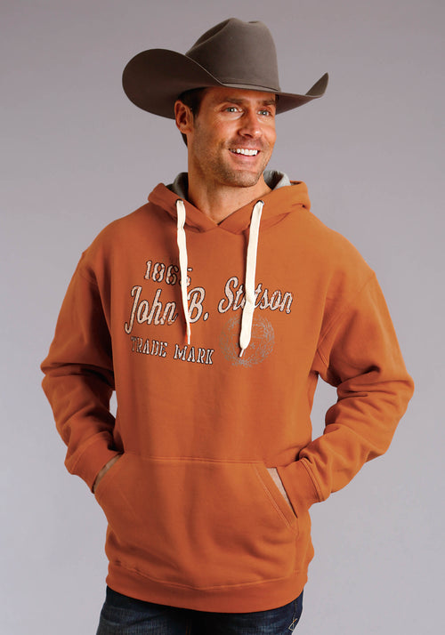 STETSON MENS ORANGE JOHN B STETSON TRADE MARK SCREEN STETSON MEN'S SWEATSHIRT SWEATSHIRT