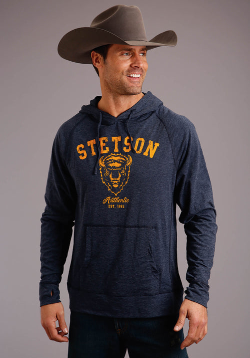 STETSON MENS BLUE STETSON BUFFALO HEAD SCREEN PRINT  SWEATSHIRT