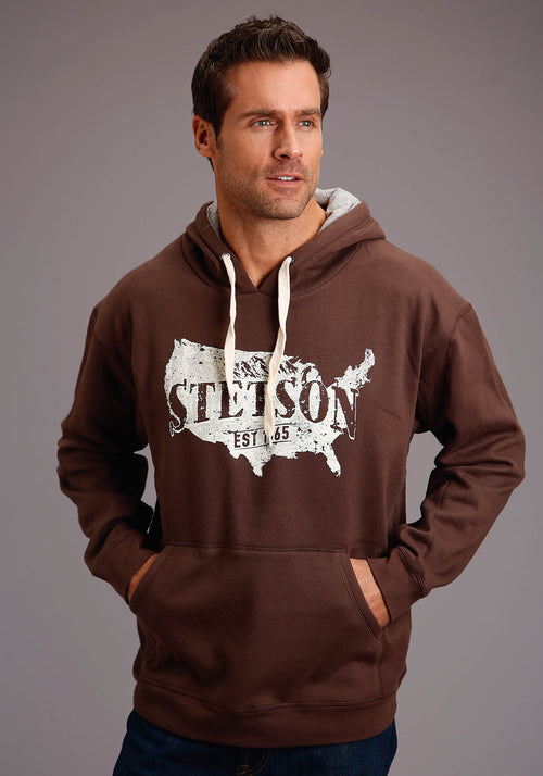 STETSON MENS BROWN STETSON USA MAP W/MOUNTAINS STETSON MEN'S COLLECTION- SWEATSHIRTS SWEATSHIRT