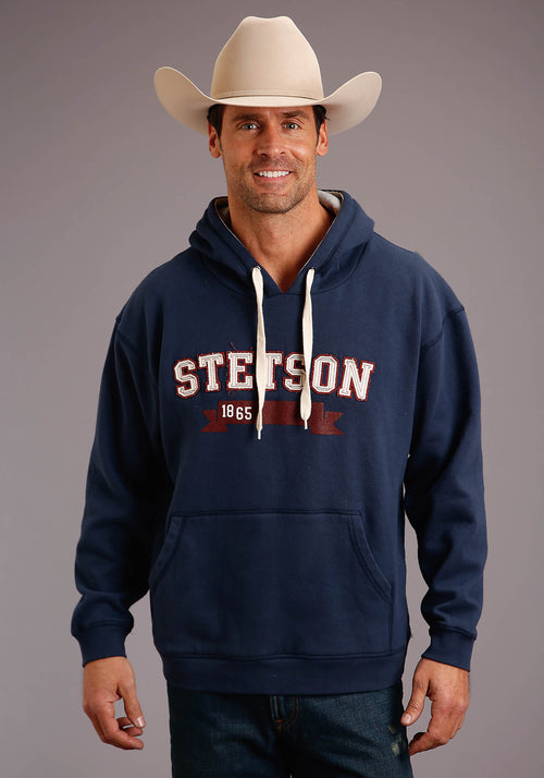 STETSON MENS BLUE STETSON 1865 APPLIQUE ATHLETIC BLOCK  SWEATSHIRT