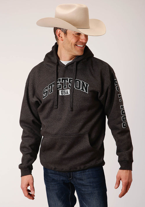 STETSON MENS GREY STETSON USA ATHLETIC BLOCK SCREEN STETSON MEN'S COLLECTION- SWEATSHIRTS SWEATSHIRT