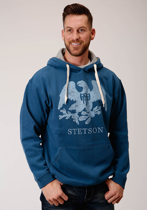 STETSON MENS BLUE STETSON EAGLE 1865 DISTRESSED STETSON MEN'S COLLECTION- SWEATSHIRTS SWEATSHIRT
