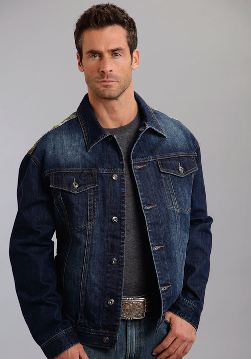 STETSON MENS BLUE DENIM JACKET WITH CAMO CANVAS STETSON MEN'S COLLECTION- HOLIDAY JACKET