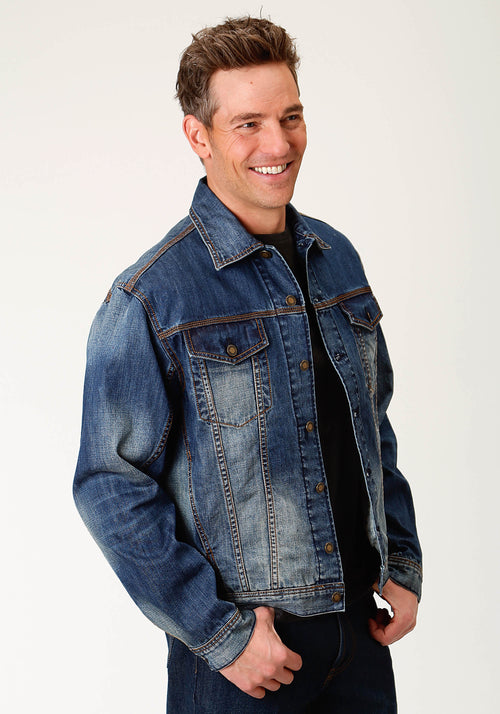 STETSON MENS BLUE DENIM JACKET W/LOGO ON LEFT PKT FLAP MEN'S DENIM JACKET JACKET