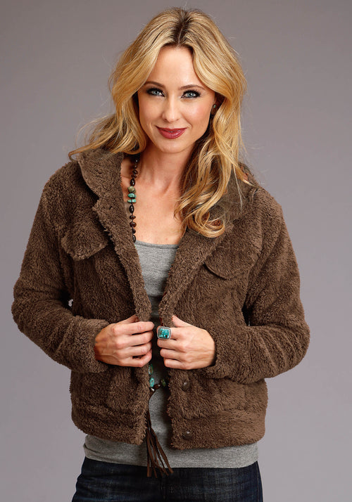 STETSON WOMENS BROWN 3921 FUZZY JACKET STETSON LADIES COLLECTION- FALL I JACKET