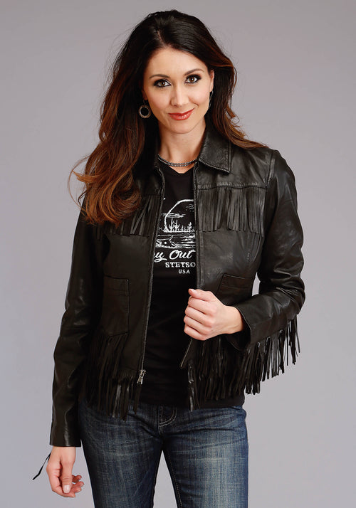 STETSON WOMENS BLACK BLACK SMOOTH LEATHER FRINGE JACKET STETSON LADIES COLLECTION- OUTERWEAR JACKET