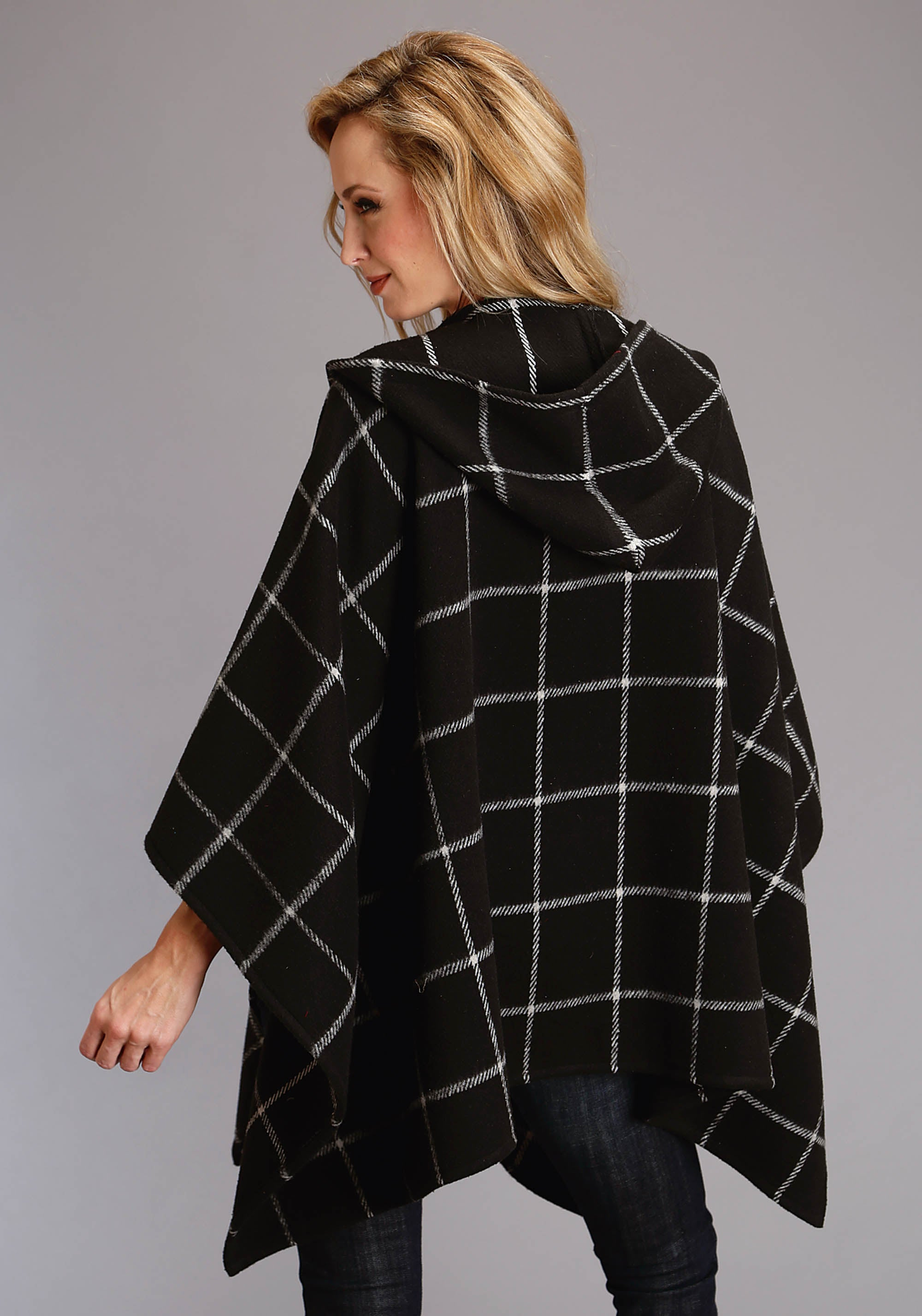 STETSON WOMENS BLACK 2387 BLACK & WHITE BRUSHED PLAID STETSON LADIES COLLECTION- FALL II JACKET
