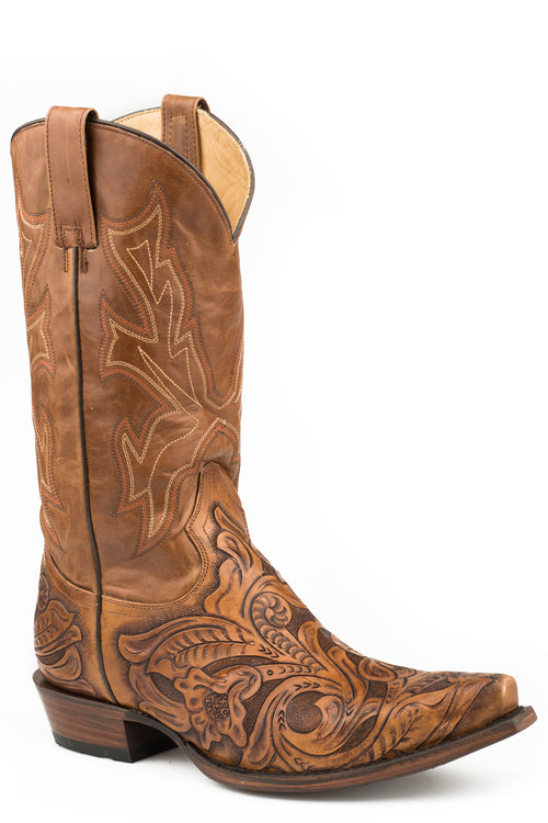 STETSON MENS TAN TAN HANDTOOLED VAMP HANDTOOLED WICKS SNIP BOOTS