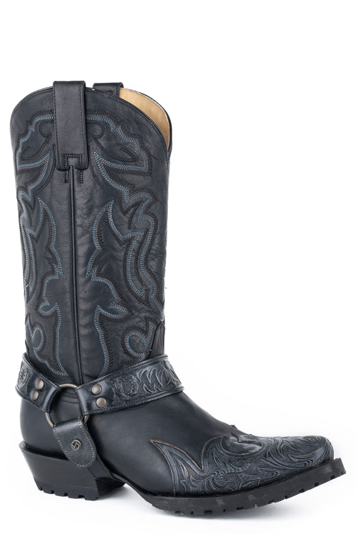 STETSON MENS BLACK OILED BLACK VAMP & SHAFT OUTLAW SCIVER BIKER BOOTS