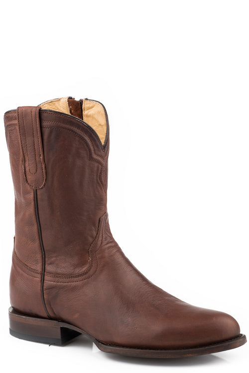 STETSON MENS BROWN BURNISHED COGNAC VAMP & SHAFT RANCHER ZIP BOOTS