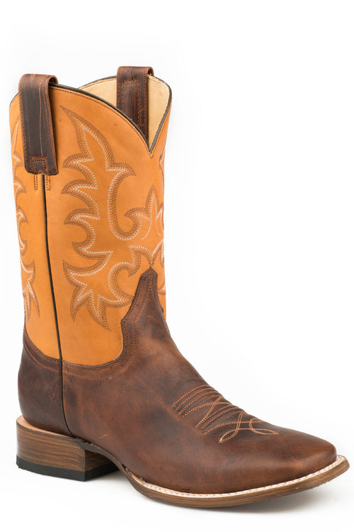 STETSON MENS BROWN BURNISHED BROWN VAMP LEAD PLUMB 2 BOOTS
