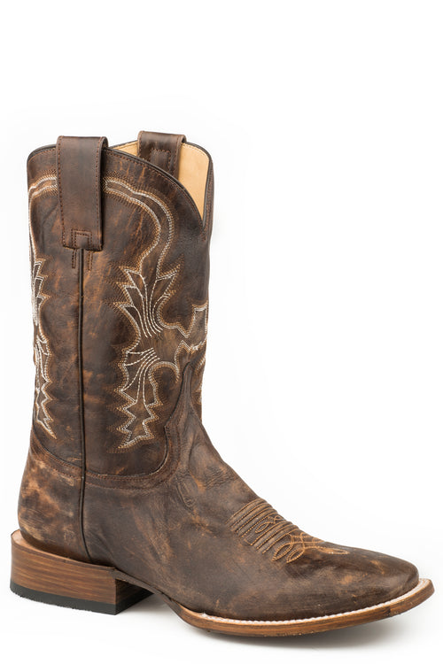 STETSON MENS BROWN DISTRESSED & SANDED BROWN LEATHER HOUSTON BOOTS