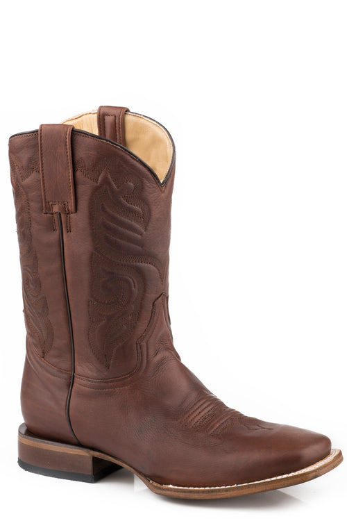 STETSON MENS BROWN BRUSH OFF COGNAC VAMP & SHAFT MOSSMAN BOOTS