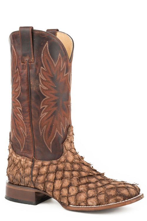 STETSON MENS BROWN DISTRESSED BROWN PIRARUCU VAMP PREDATOR BOOTS