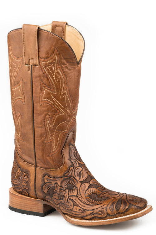 STETSON MENS TAN TAN HANDTOOLED VAMP HANDTOOLED WICKS BOOTS