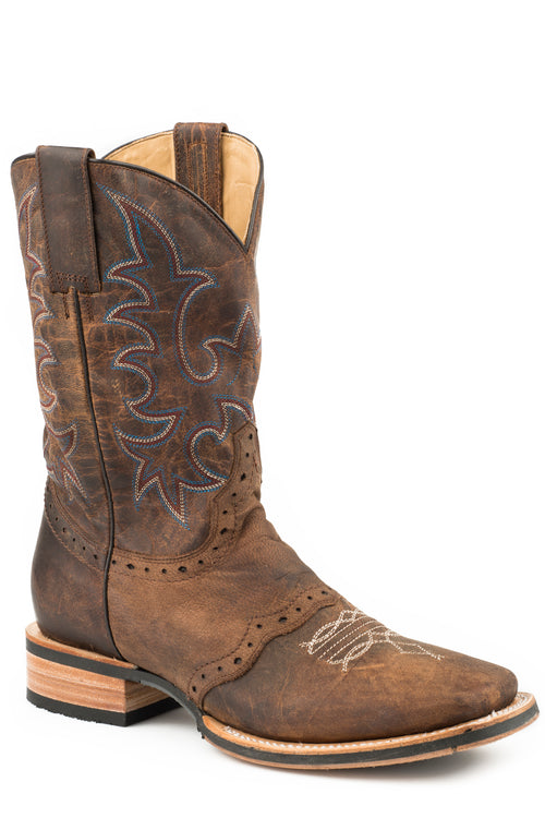 STETSON MENS BROWN OILY BROWN VAMP W/SADDLE & SHAFT BARRET BOOTS