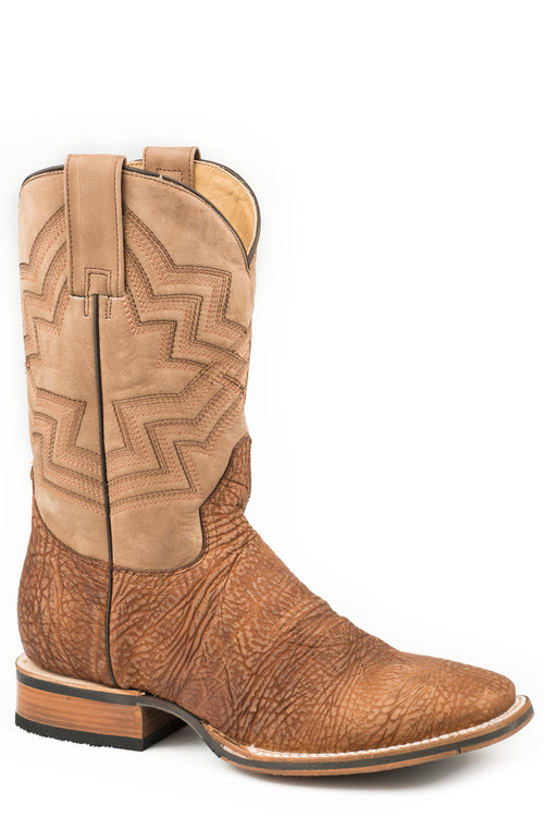 STETSON MENS BROWN TAN SHRUNKEN SHOULDER BULLHIDE VAMP JAMES BOOTS