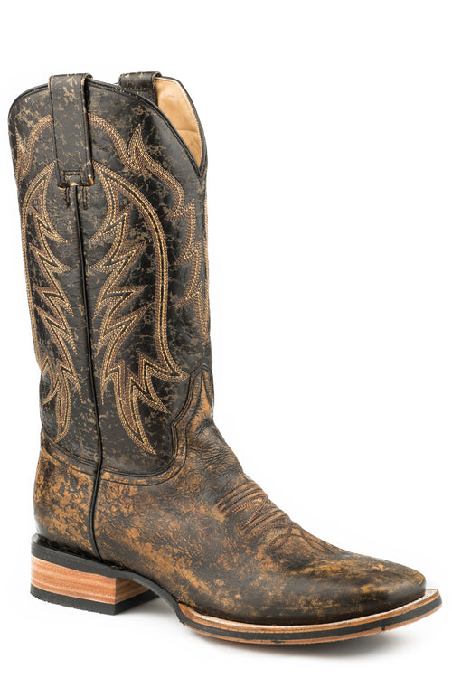 STETSON MENS BROWN DISTRESSED BLACK VAMP & SHAFT AMES BOOTS