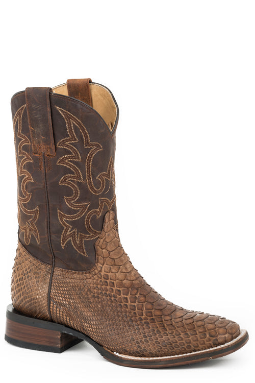 STETSON MENS BROWN SANDED BROWN PYTHON VAMP MONSTER BOOTS