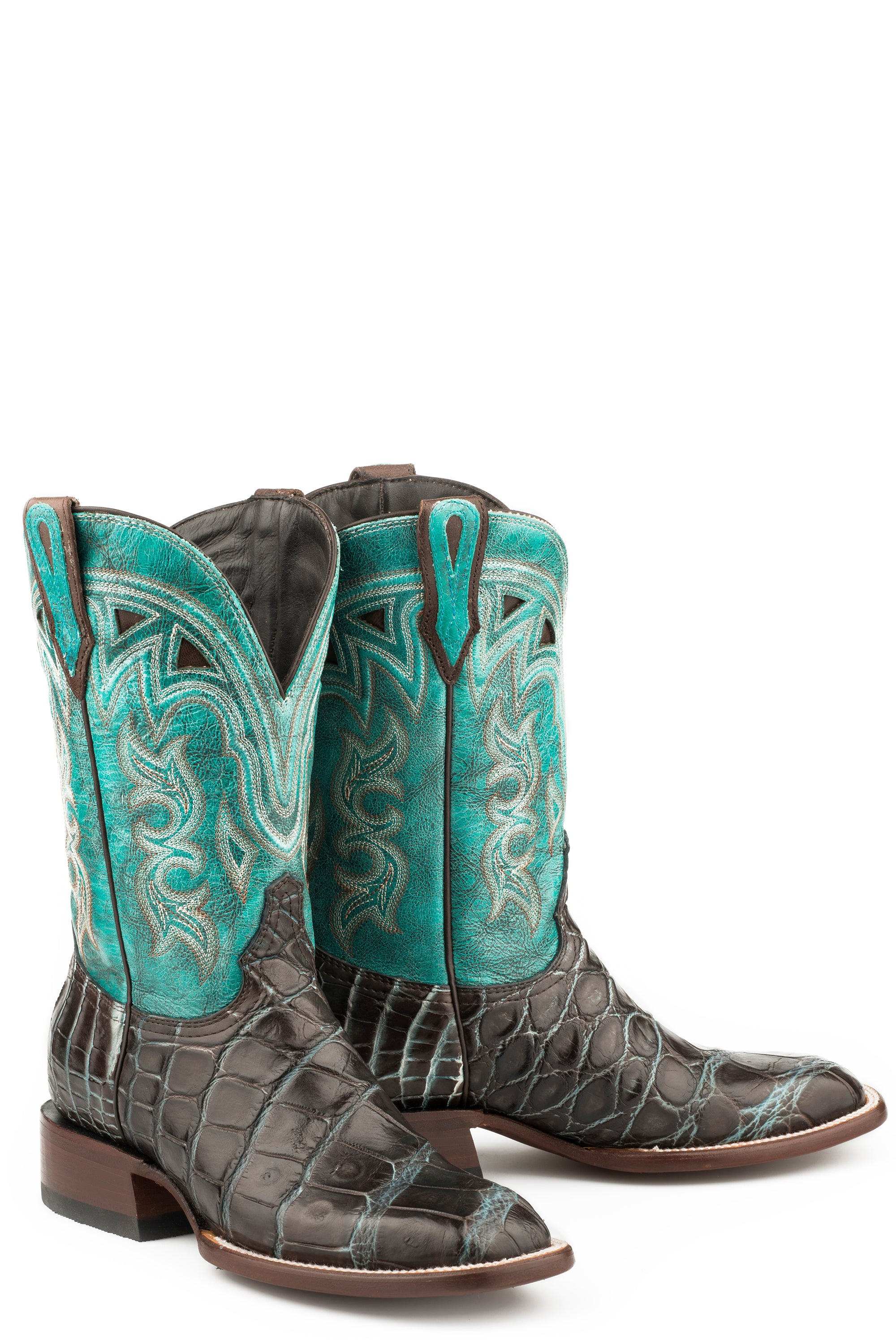 "STETSON WOMENS BROWN BROWN ALLIGATOR BLUE VAMP 11""SFT MADRID BOOTS"