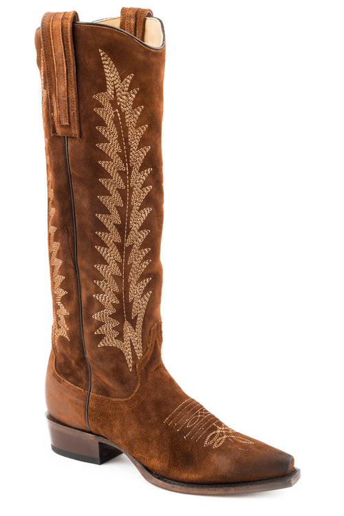 "STETSON WOMENS BROWN BROWN OILED SUEDE VAMP AND 16""SHAFT EMME BOOTS"