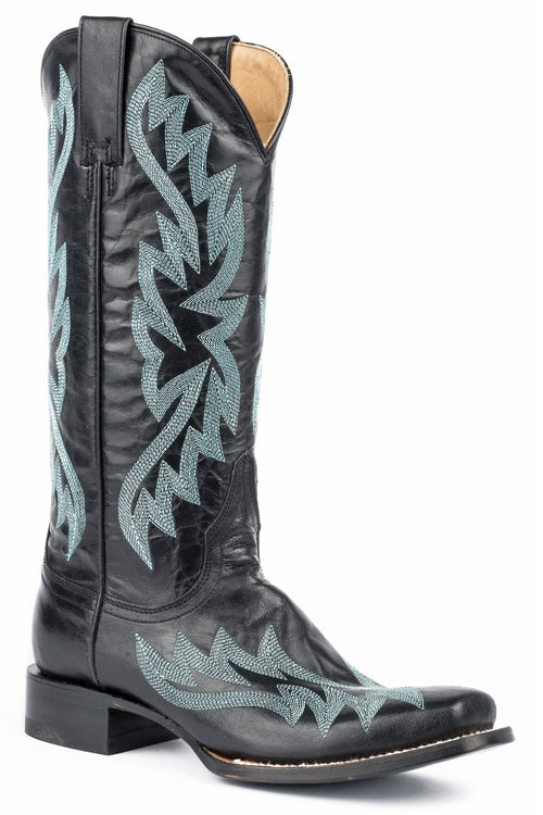 "STETSON WOMENS BLACK BLACK GOAT VAMP AND 13"" SHAFT WITH TORI NARROW SQUARE BOOT"