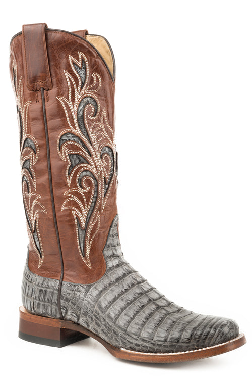 STETSON WOMENS GREY GRAY CAIMAN BELLY VAMP CLARISA BOOTS
