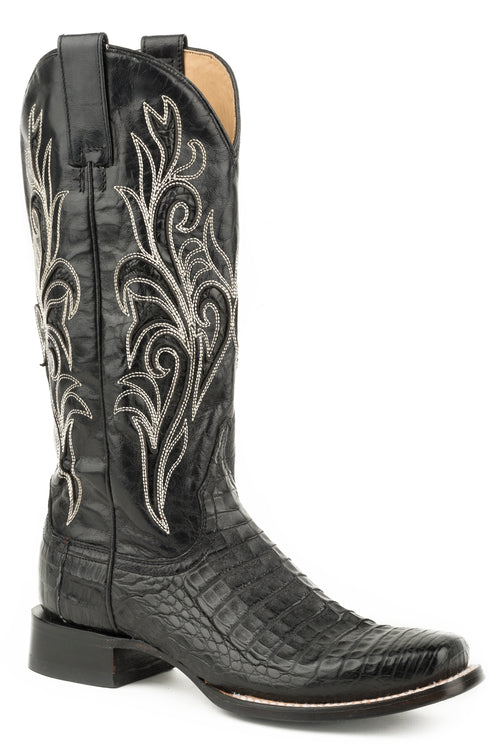 STETSON WOMENS BLACK BLACK CAIMAN BELLY VAMP CLARISA BOOTS
