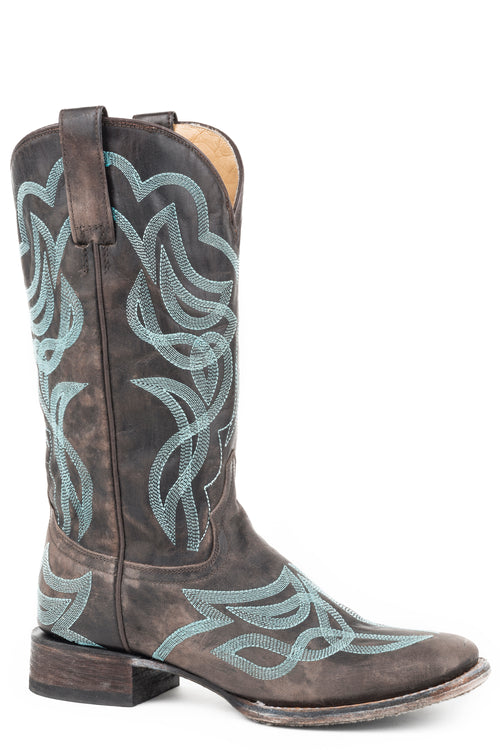STETSON WOMENS BROWN CHOCOLATE BROWN VAMP AND SHAFT WITH REESE BOOTS