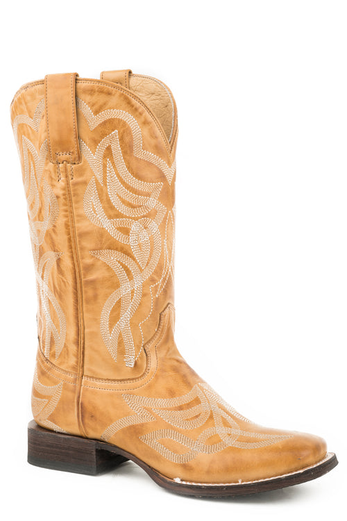 STETSON WOMENS TAN BURNISHED TAN VAMP AND SHAFT WITH REESE BOOTS