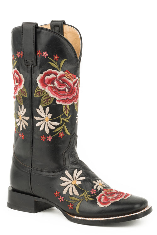 "STETSON WOMENS BLACK BLACK VAMP AND 12"" SHAFT WITH UNIQUE ROSE BOOTS"