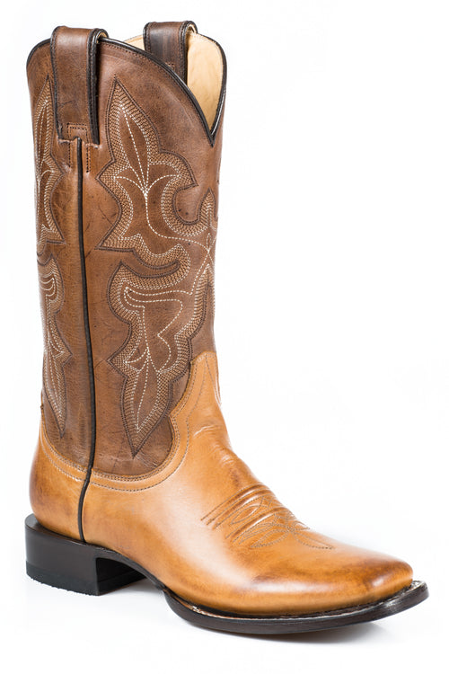 "STETSON LADIES TAN BURNISHED TAN VAMP  BROWN 12"" SHAFT JANE BOOT"